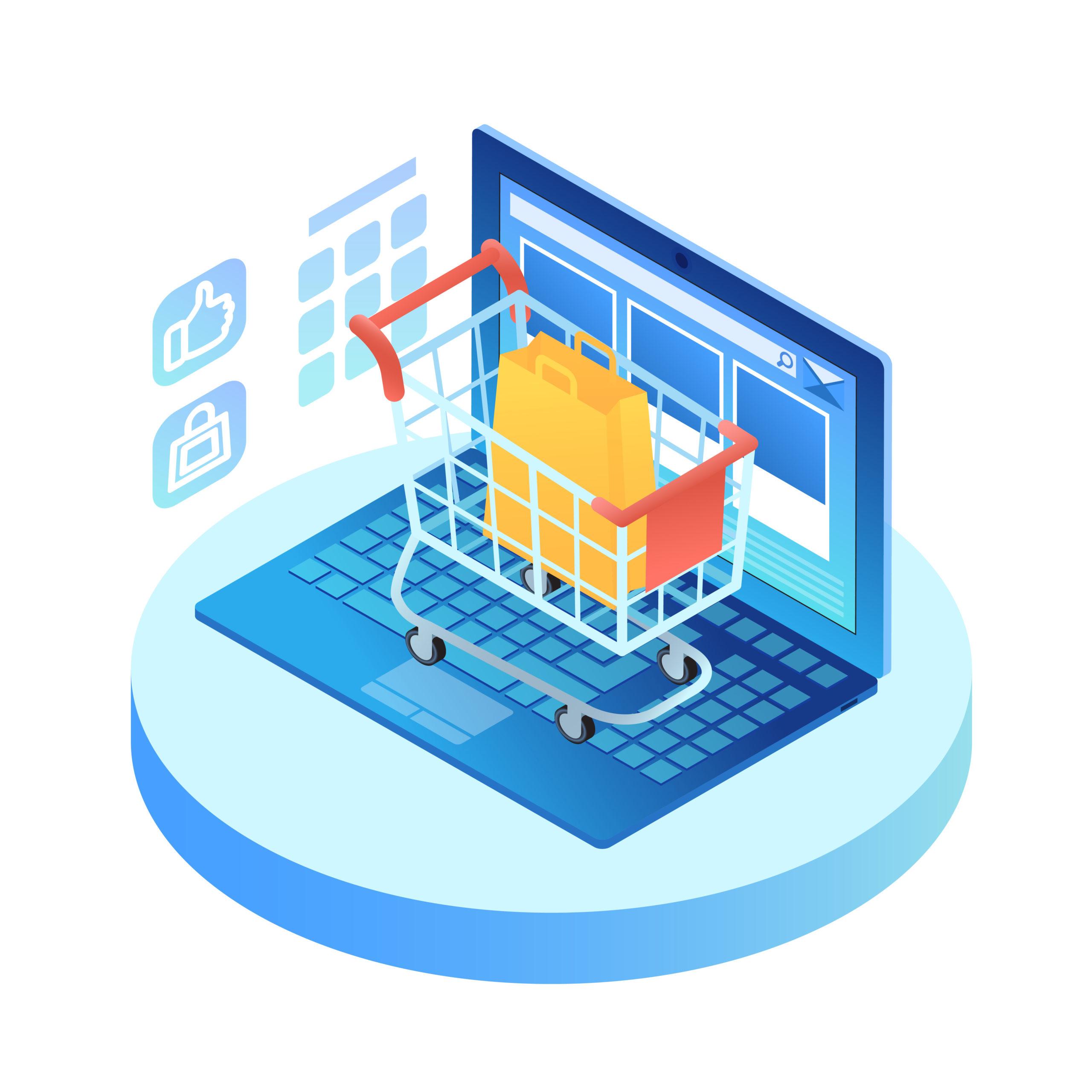 Isometric laptop with shopping cart on keypad