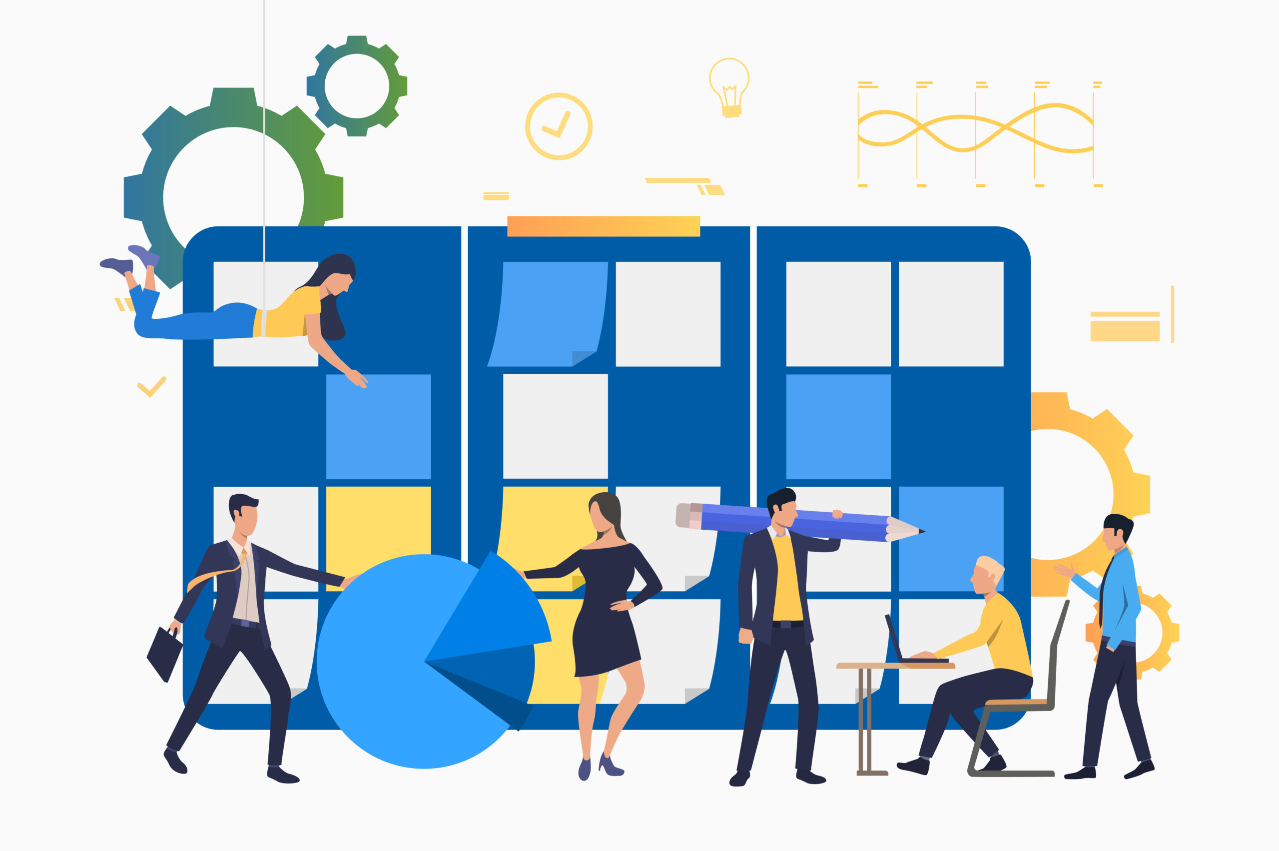 Professionals working in office. People holding pencil, working on laptop, sticking notes. Business concept. Vector illustration can be used for topics like team, teamwork, scrum meeting
